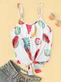 Fruit Print Knot Hem Cami Top