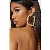 Gold Oversized Bamboo Square Large Hoop Earrings