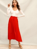 Drawstring Waist Pleated Skirt