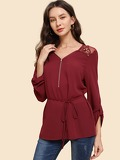 Zip Front Lace Belted Top