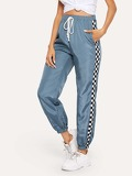Drawstring Waist Checked Panel Sweatpants