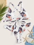 Random Tropical Criss-cross Self Tie Bikini Set