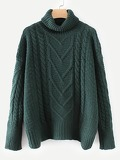 High Neck Cable Knit Solid Jumper