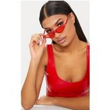 Red Small Cat Eye Skinny Sunglasses