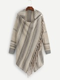 Fringe Decoration Poncho Jumper