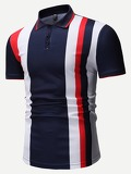 Men Color-block Striped Polo Shirt