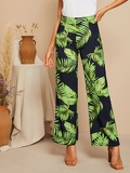 High Waist Jungle Leaf Print Wide Leg Pants
