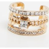 Gold Diamante Three Band Stacking Effect Ring