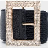 Black Diamante Square Buckle Belt