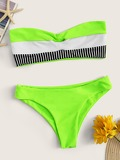 Neon Lime Color-block Bandeau With Ribbed Bikini Set