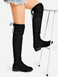 Back Tie Thigh High Suede Boots