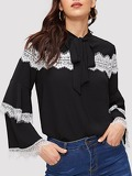 Contrast Lace Tie Neck Blouse