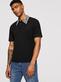 Men Zebra Print Collar Polo T-shirt