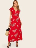 Tie Back Floral Print Maxi Dress