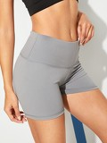 Solid High Waist Cycling Shorts