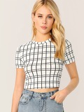 Grid Slim Fitted Crop Top
