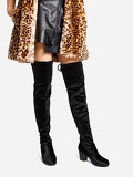 Velvet Over The Knee Plain Boots
