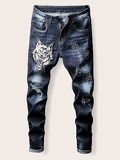 Men Wolf Patched Ripped Jeans