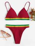 Triangle Top With Striped Hem Bikini Set
