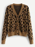 Leopard Print Button Through Sweater Coat
