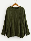 Rolled Edge Knit Drop Shoulder Sweater