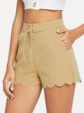 Lace-Up Waist Scallop Edge Shorts