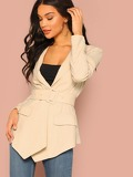 Notch Collar Buckle Belted Asymmetrical Blazer
