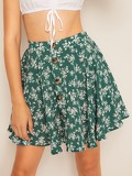 Botanical Print Button Up Swing Skirt