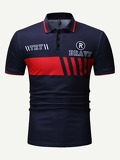 Men Striped Letter Print Polo Shirt