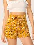 Ditsy Floral Paperbag Waist Belted Shorts
