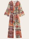 Self Tie Tribal Print Jumpsuit