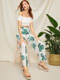 Plants Print Belted Pants