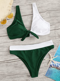 Two Tone Knot Front Top With Panty Bikini