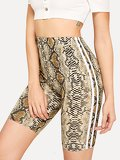Contrast Taped Side Snake Print Cycling Shorts