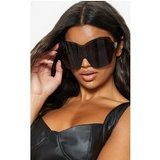 Black Extra Oversized Frameless Visor Style Sunglasses