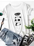Panda And Letter Print Tee