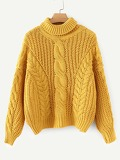 High-neck Twisted Knit Jumper