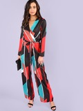 Geo Print Self Belted Surplice Wrap Jumpsuit