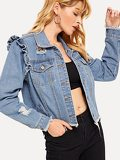 Raw Hem Ripped Frill Denim Jacket
