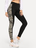 Wide Waistband Leopard Panel Leggings