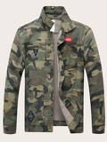 Men Camo Print Denim Jacket