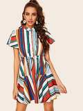 Striped Drawstring Waist Shirt Dress
