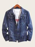 Men Dual Pocket Ripped Denim Jacket