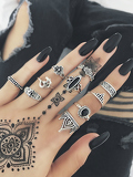 Flower & Crown Design Ring Set 10Pcs