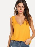 Plunging Neck Scallop Edge Top