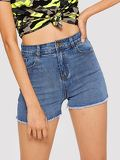 Raw Edge Skinny Denim Shorts