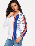 Colorblock Striped Blouse