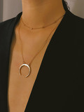 Metal Moon Pendant Necklace With Chain Choker 2pcs