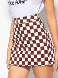 O-ring Zipper Up Checked Bodycon Skirt
