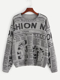 Drop Shoulder Letter and Cartoon Jumper